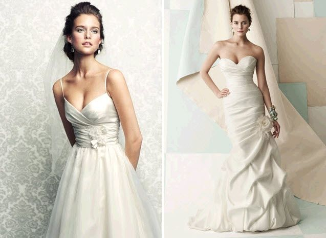 Classic and chic Mikaella wedding dresses- v-neck empire with spaghetti straps, and deep sweetheart