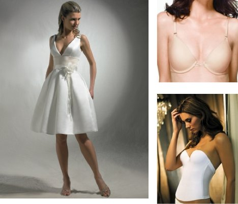 This beautiful v-neck white wedding dress is displayed with a bustier and a strapless bra