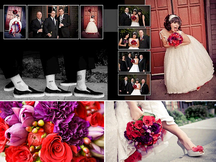 Awesome retro Valentines themed wedding details red purple bridal bouquet
