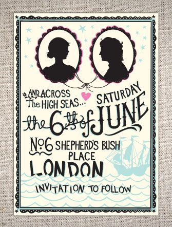 Hip and quirky high seas savethedate wedding invitations with bride and