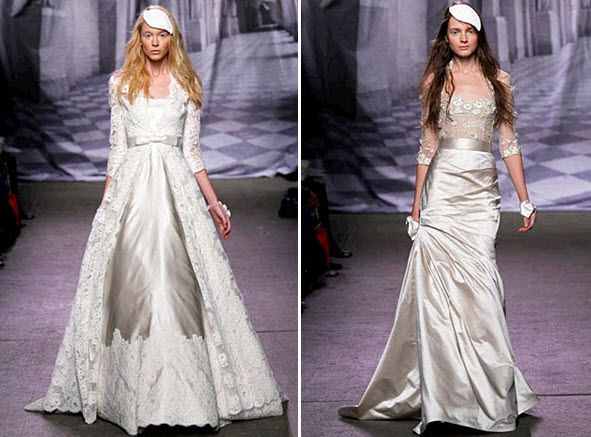 Long sleeved couture wedding dresses by Monique Lhuillier