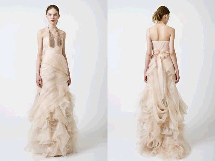 Soft nude layered wedding dress from Vera Wang's Spring 2011 collection