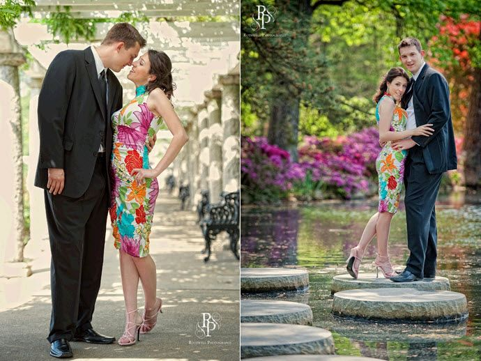 Bride wears colorful bold print cocktail dress, groom in dapper suit