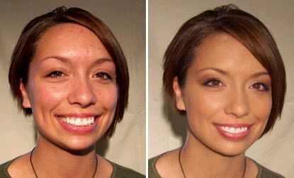 Before and after with organic mineral powder foundation! Perfect for eco-chic brides-to-be!