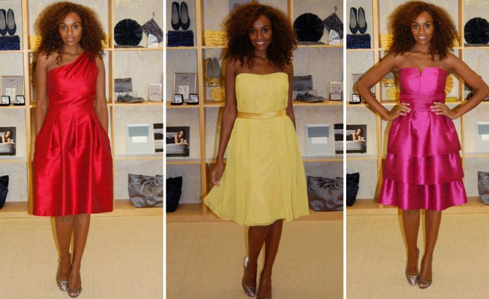 Adorable red, yellow, and pink strapless and asymmetric bridesmaids' dresses by Dessy!
