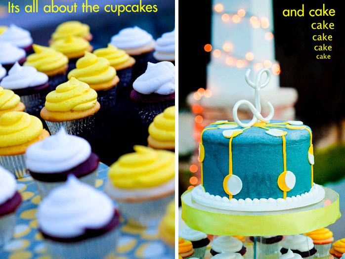 Delicious wedding cupcakes with white and yellow frosting; blue, white and yellow whimsical wedding