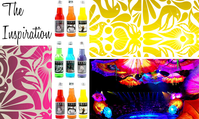 Retro black and neon wedding color palette is cheerful fun and quirky