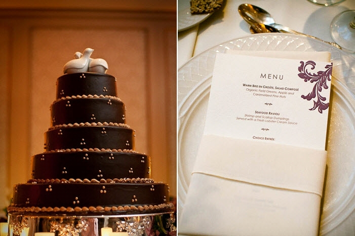 chocolate-brown-regal-wedding-cake-with-lovebirds-cake-topper