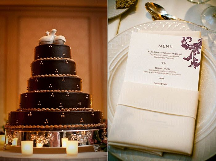 Standout chocolate brown wedding cake with love bird cake toppers