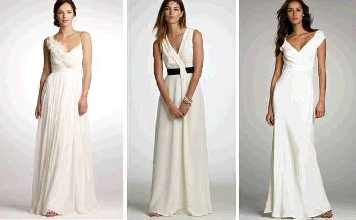 Simple and chic wedding dresses by J.Crew- floral applique, black details, and a v-neck to drool ove