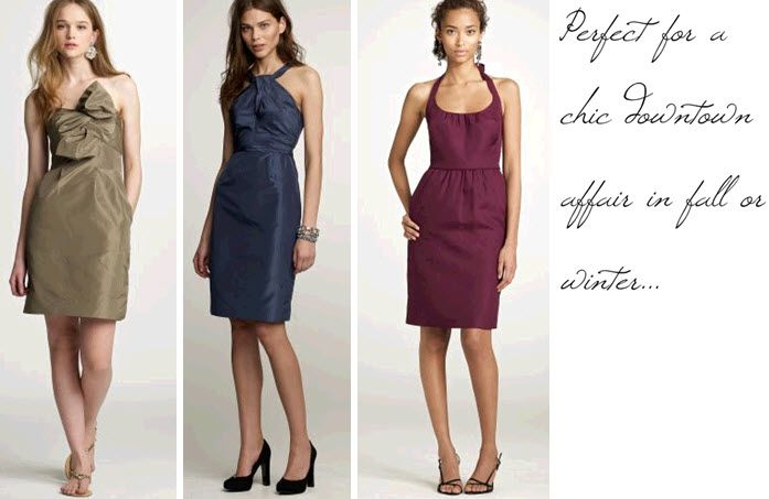 Chic and sophisticated copper, midnight blue, and maroon bridesmaids' dresses