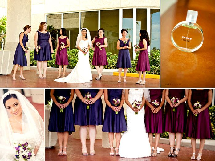 Bridesmaids wear wine and concord grape bridesmaids' dresses; Chanel Chance is the bride's signature
