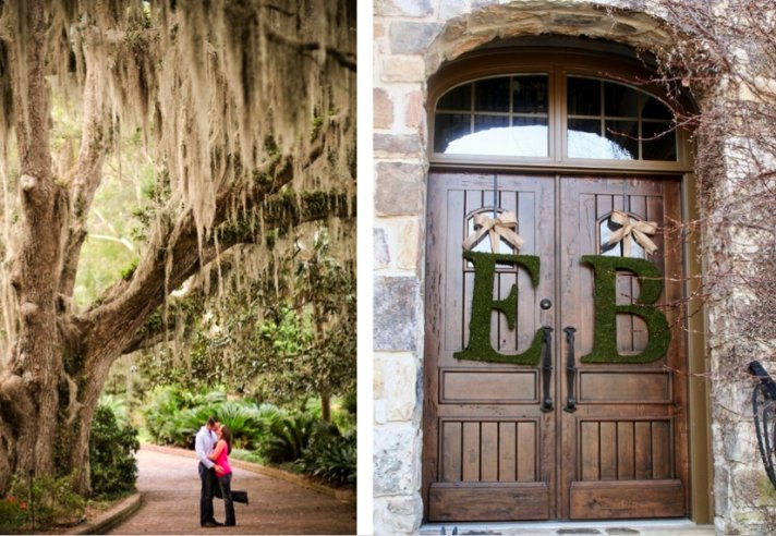 Moss sets the tone for an engagement photo shoot or on the doorway of the church.