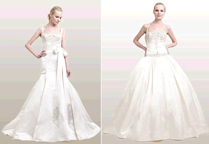 Classic ivory duchess satin wedding dresses with sparkle beading details