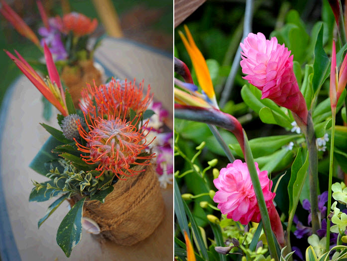 Vibrant tropical flowers were all the wedding reception decor this Maui