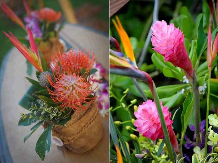 Vibrant tropical flowers were all the wedding reception decor this Maui destination wedding needed!