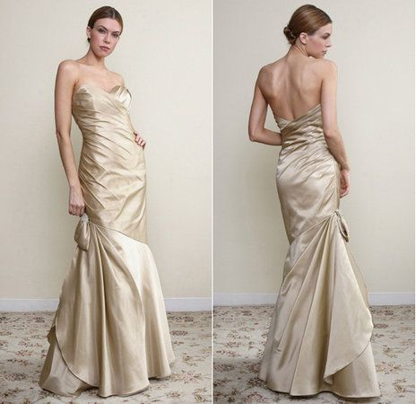 Champagne mermaid wedding dress with sweetheart neckline by JLM Couture