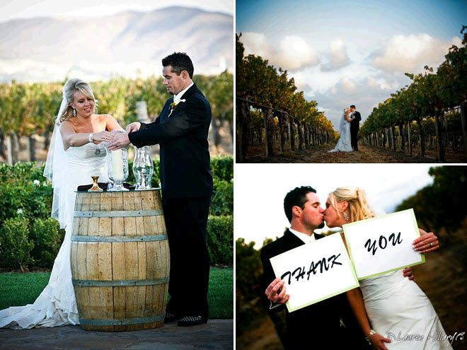 Bride and groom light unity candle at outdoor wedding ceremony at Temecula winery