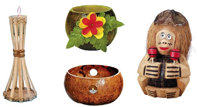 Extra tropical touches- tiki torches for each table, and candles in coconut shells!