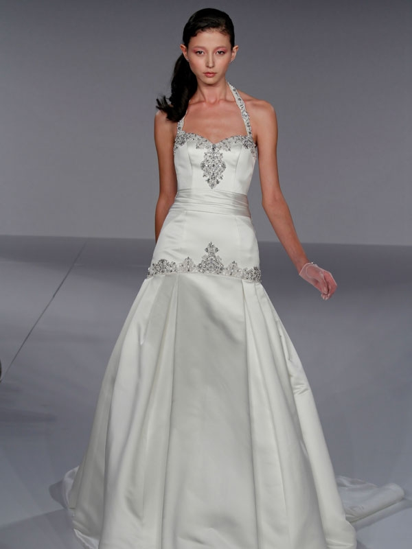Gorgeous drop waist halter satin wedding dress with jeweled beading on