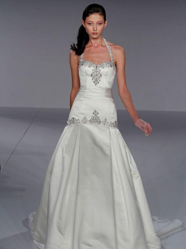 Gorgeous drop waist halter satin wedding dress with jeweled beading on neckline and waist