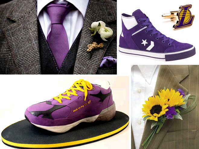 Show your groom some Lakers Love with these fun wedding accessories
