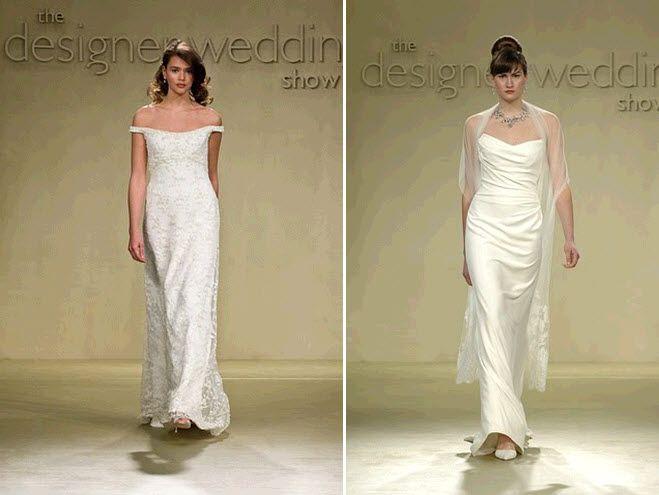Flowy sheath style white wedding dresses with off-the-shoulder neckline