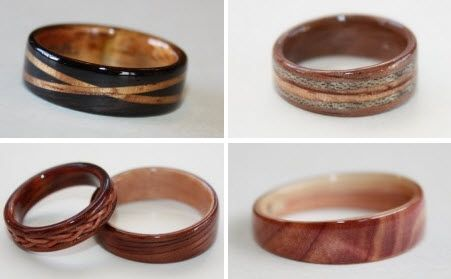 Hand-carved wood wedding bands that are eco-friendly and chic for your groom!