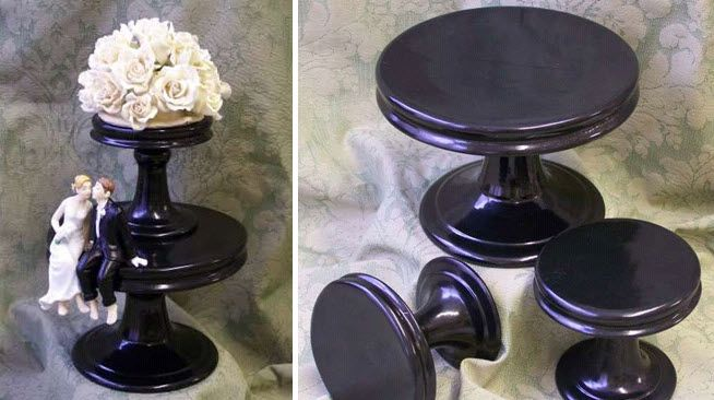 Chic modern black handmade wedding cake stands