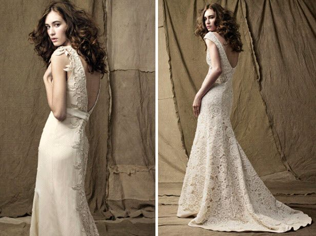 Two beautiful classic ivory lace wedding dresses by Lela Rose with open low