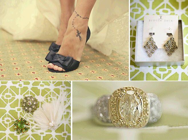 Open-toe black Badgley Mischka bridal heels; Judith Jack chandelier bridal earrings