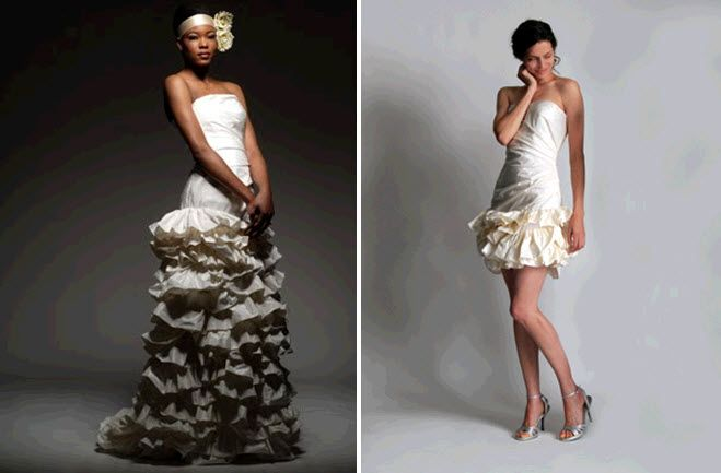 Eco-couture wedding dresses by Elizabeth St. John- love the tiered ruffles on the skirt!