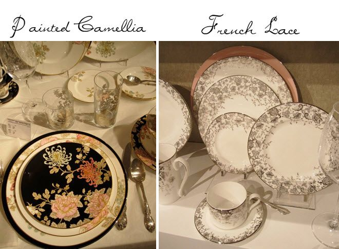 Painted garden and french lace patterns from Marchesa's new china collection