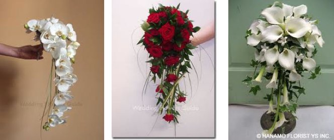 These cascading bouquets are authentic for a vintage or retry style wedding. The white cascade bouqu