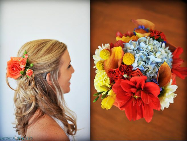 Simple and chic bridal hairstyle- half up with loose curls, orange roses accent hairstyle