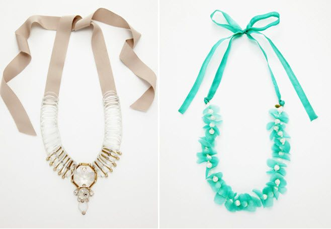 Taupe and crystal statement necklace for your wedding day, and a turquoise ribbon necklace for your