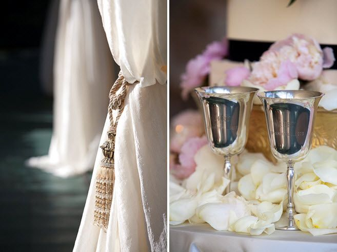 Engraved silver toasting chalice for wedding reception toast, ivory roses and blush pink peonies sca