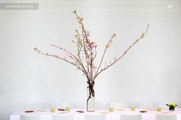 Minimal wedding reception decor and tablescape all white with cherry