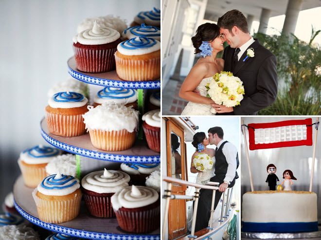 Wedding reception cupcake tree with ivory, blue, lime green wedding color palette
