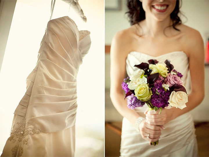Bride in ivory stapless wedding dress with pleating detail holds plum