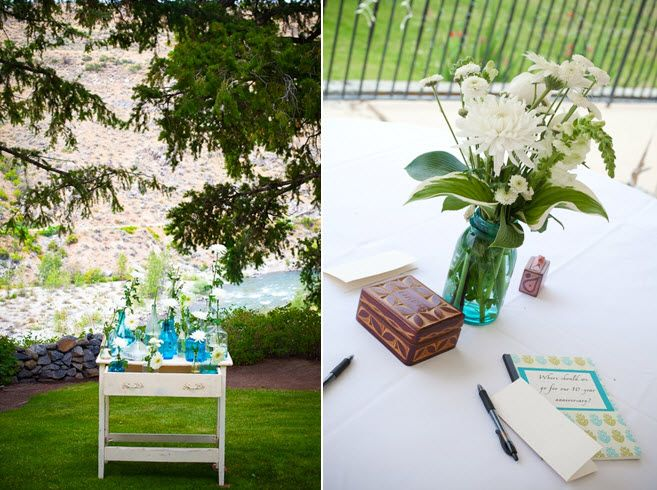 Simple and fresh wedding decor- white flowers, with aqua and green accents