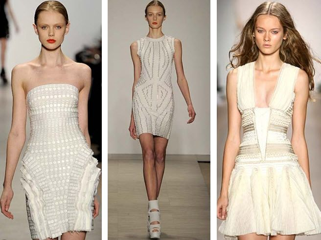 Curve-hugging little white dresses from Hervé Léger's NY Fashion Week debut