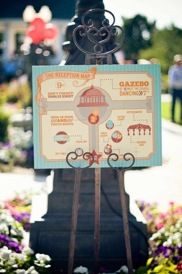 The bride and groom wanted a map to accompany the wedding ceremony.