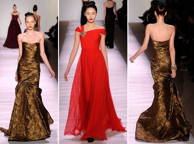 Gorgeous gold strapless Monique Lhuillier dress; lipstick red Grecian-inspired couture gown