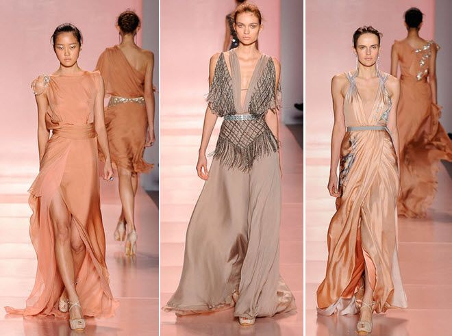 jenny packham spring 2011 collection new york fashion week 2010 ethereal gowns nude champagne taupe fabric a line flowy  full The 4 Main Dress Styles That Will Dominate In 2015