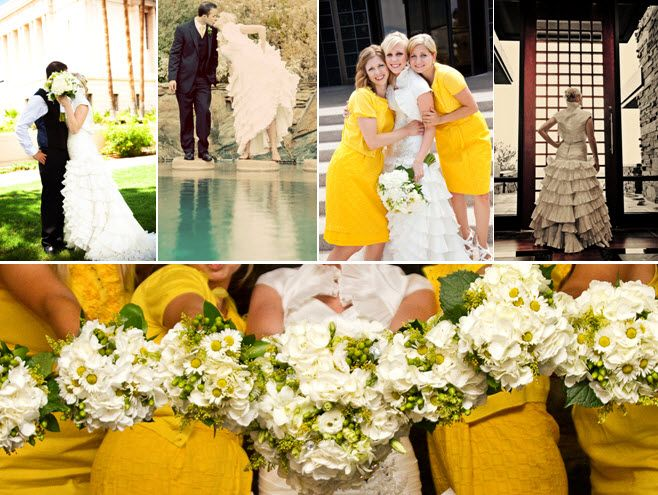 Yellow bridesmaids dresses with ivory and green fresh flower bouquets