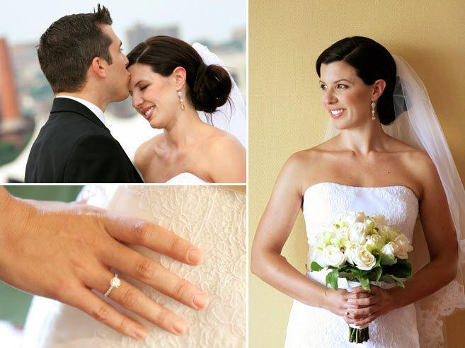 Ivory wedding dress white bouquet