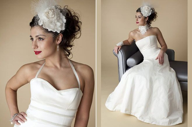 Vintage-inspired bridal look from London-based wedding dress designer Emma Hunt