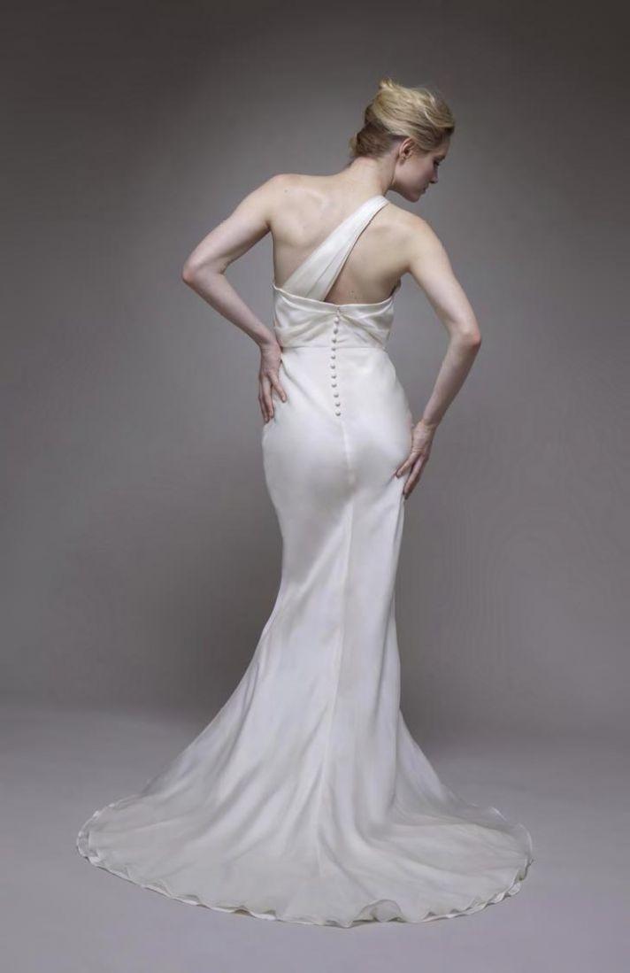 Stunning ivory silk satin mermaid wedding dress with asymmetric neckline