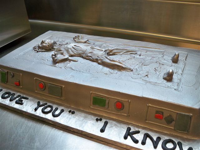 This groom's cake has a Star Wars theme featuring Han Solo